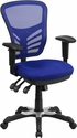 Mid-Back Blue Mesh Multifunction Executive Swivel Chair with Adjustable Arms [HL-0001-BL-GG]