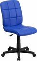 Mid-Back Blue Quilted Vinyl Swivel Task Chair [GO-1691-1-BLUE-GG]