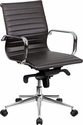 Mid-Back Brown Ribbed Upholstered Leather Swivel Conference Chair [BT-9826M-BRN-GG]