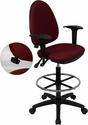 Mid-Back Burgundy Fabric Multi-Functional Drafting Chair with Adjustable Lumbar Support and Height Adjustable Arms [WL-A654MG-BY-AD-GG]