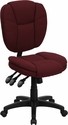 Mid-Back Burgundy Fabric Multi-Functional Ergonomic Swivel Task Chair [GO-930F-BY-GG]