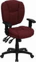 Mid-Back Burgundy Fabric Multi-Functional Ergonomic Swivel Task Chair with Height Adjustable Arms [GO-930F-BY-ARMS-GG]