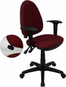 Mid-Back Burgundy Fabric Multi-Functional Swivel Task Chair with Adjustable Lumbar Support and Height Adjustable Arms [WL-A654MG-BY-A-GG]