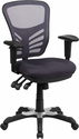 Mid-Back Dark Gray Mesh Multifunction Executive Swivel Chair with Adjustable Arms [HL-0001-DK-GY-GG]
