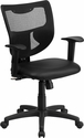 Galaxy Mid-Back Black Mesh Designer Back Swivel Task Chair with Leather Padded Seat and Adjustable Height Arms [WL-F061SYG-LEA-A-GG]