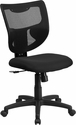 Galaxy Mid-Back Black Mesh Designer Back Swivel Task Chair with Fabric Padded Seat [WL-F061SYG-MF-GG]