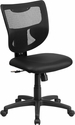 Galaxy Mid-Back Black Mesh Designer Back Swivel Task Chair with Leather Padded Seat [WL-F061SYG-LEA-GG]