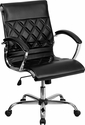 Mid-Back Designer Black Leather Executive Swivel Office Chair with Chrome Base [GO-1297M-MID-BK-GG]