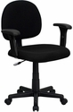 Low Back Ergonomic Black Fabric Swivel Task Chair with Height Adjustable Arms [BT-660-1-BK-GG]