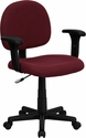 Low Back Ergonomic Burgundy Fabric Swivel Task Chair with Height Adjustable Arms [BT-660-1-BY-GG]