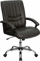 Mid-Back Espresso Brown Leather Swivel Manager's Chair [BT-9076-BRN-GG]
