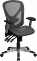 Mid-Back Gray Mesh Executive Swivel Office Chair with Mesh Seat and Back and Triple Paddle Multi-Function Control [GO-WY-136-3-GG]