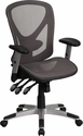 Mid-Back Transparent Gray Mesh Multifunction Executive Swivel Chair with Adjustable Arms [GO-WY-136-3-GG]