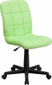Mid-Back Green Quilted Vinyl Swivel Task Chair [GO-1691-1-GREEN-GG]