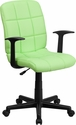 Mid-Back Green Quilted Vinyl Swivel Task Chair with Nylon Arms [GO-1691-1-GREEN-A-GG]