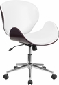 Mid-Back Mahogany Wood Swivel Conference Chair in White Leather [SD-SDM-2240-5-MAH-WH-GG]