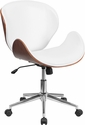 Mid-Back Walnut Wood Swivel Conference Chair in White Leather [SD-SDM-2240-5-WH-GG]