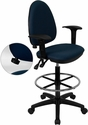 Mid-Back Navy Blue Fabric Multi-Functional Drafting Chair with Adjustable Lumbar Support and Height Adjustable Arms [WL-A654MG-NVY-AD-GG]