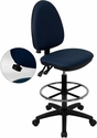 Mid-Back Navy Blue Fabric Multi-Functional Drafting Chair with Adjustable Lumbar Support [WL-A654MG-NVY-D-GG]