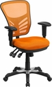 Mid-Back Orange Mesh Multifunction Executive Swivel Chair with Adjustable Arms [HL-0001-OR-GG]
