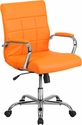 Mid-Back Orange Vinyl Executive Swivel Office Chair with Chrome Arms [GO-2240-ORG-GG]
