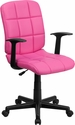 Mid-Back Pink Quilted Vinyl Swivel Task Chair with Nylon Arms [GO-1691-1-PINK-A-GG]