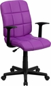 Mid-Back Purple Quilted Vinyl Swivel Task Chair with Nylon Arms [GO-1691-1-PUR-A-GG]