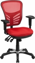 Mid-Back Red Mesh Multifunction Executive Swivel Chair with Adjustable Arms [HL-0001-RED-GG]