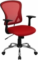 Mid-Back Red Mesh Swivel Task Chair with Chrome Base and Arms [H-8369F-RED-GG]