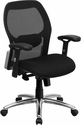 Mid-Back Black Super Mesh Executive Swivel Chair with Knee Tilt Control and Adjustable Arms [LF-W42-GG]