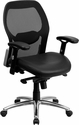 Mid-Back Black Super Mesh Executive Swivel Chair with Leather Seat,Knee Tilt Control and Adjustable Arms [LF-W42-L-GG]