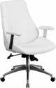Mid-Back White Leather Executive Swivel Office Chair [BT-90068M-WH-GG]