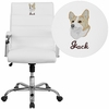 Embroidered Mid-Back White Leather Executive Swivel Chair with Chrome Base and Arms [GO-2286M-WH-EMB-GG]