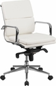 Mid-Back White Leather Executive Swivel Office Chair with Synchro-Tilt Mechanism [BT-9895M-WH-GG]