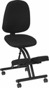 Mobile Ergonomic Kneeling Posture Chair in Black Fabric with Back [WL-1428-GG]