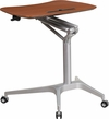 Mobile Sit-Down,Stand-Up Mahogany Computer Desk with 28.25''W Top (Adjustable Range 29'' - 41'') [NAN-IP-10-GG]