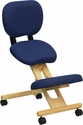 Mobile Wooden Ergonomic Kneeling Posture Chair in Navy Blue Fabric with Reclining Back [WL-SB-310-GG]