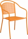Orange Indoor-Outdoor Steel Patio Arm Chair with Round Back [CO-3-OR-GG]