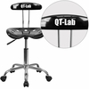 Personalized Vibrant Black and Chrome Swivel Task Chair with Tractor Seat [LF-214-BLK-EMB-VYL-GG]