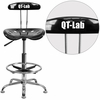 Personalized Vibrant Black and Chrome Drafting Stool with Tractor Seat [LF-215-BLK-EMB-VYL-GG]
