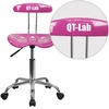 Personalized Vibrant Candy Heart and Chrome Swivel Task Chair with Tractor Seat [LF-214-CANDYHEART-EMB-VYL-GG]