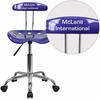 Personalized Vibrant Deep Blue and Chrome Task Chair with Tractor Seat [LF-214-DEEPBLUE-EMB-VYL-GG]