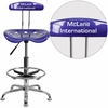 Personalized Vibrant Deep Blue and Chrome Drafting Stool with Tractor Seat [LF-215-DEEPBLUE-EMB-VYL-GG]