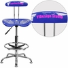 Personalized Vibrant Nautical Blue and Chrome Drafting Stool with Tractor Seat [LF-215-NAUTICALBLUE-EMB-VYL-GG]