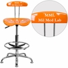 Personalized Vibrant Orange and Chrome Drafting Stool with Tractor Seat [LF-215-ORANGEYELLOW-EMB-VYL-GG]
