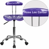 Personalized Vibrant Violet and Chrome Task Chair with Tractor Seat [LF-214-VIOLET-EMB-VYL-GG]