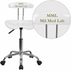 Personalized Vibrant White and Chrome Task Chair with Tractor Seat [LF-214-WHITE-EMB-VYL-GG]
