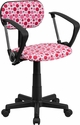 Pink Dot Printed Swivel Task Chair with Arms [BT-D-PK-A-GG]