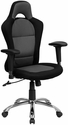 Race Car Inspired Bucket Seat Swivel Task Chair in Gray & Black Mesh [BT-9015-GYBK-GG]