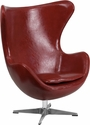 Cordovan Leather Egg Chair with Tilt-Lock Mechanism [ZB-15-GG]